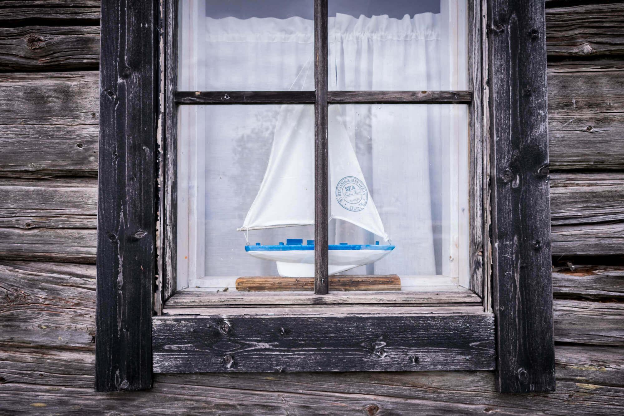 Alte Fischerhütte auf der Insel Tanker in der Kvarken Meerenge vor der Küste Finnlands
