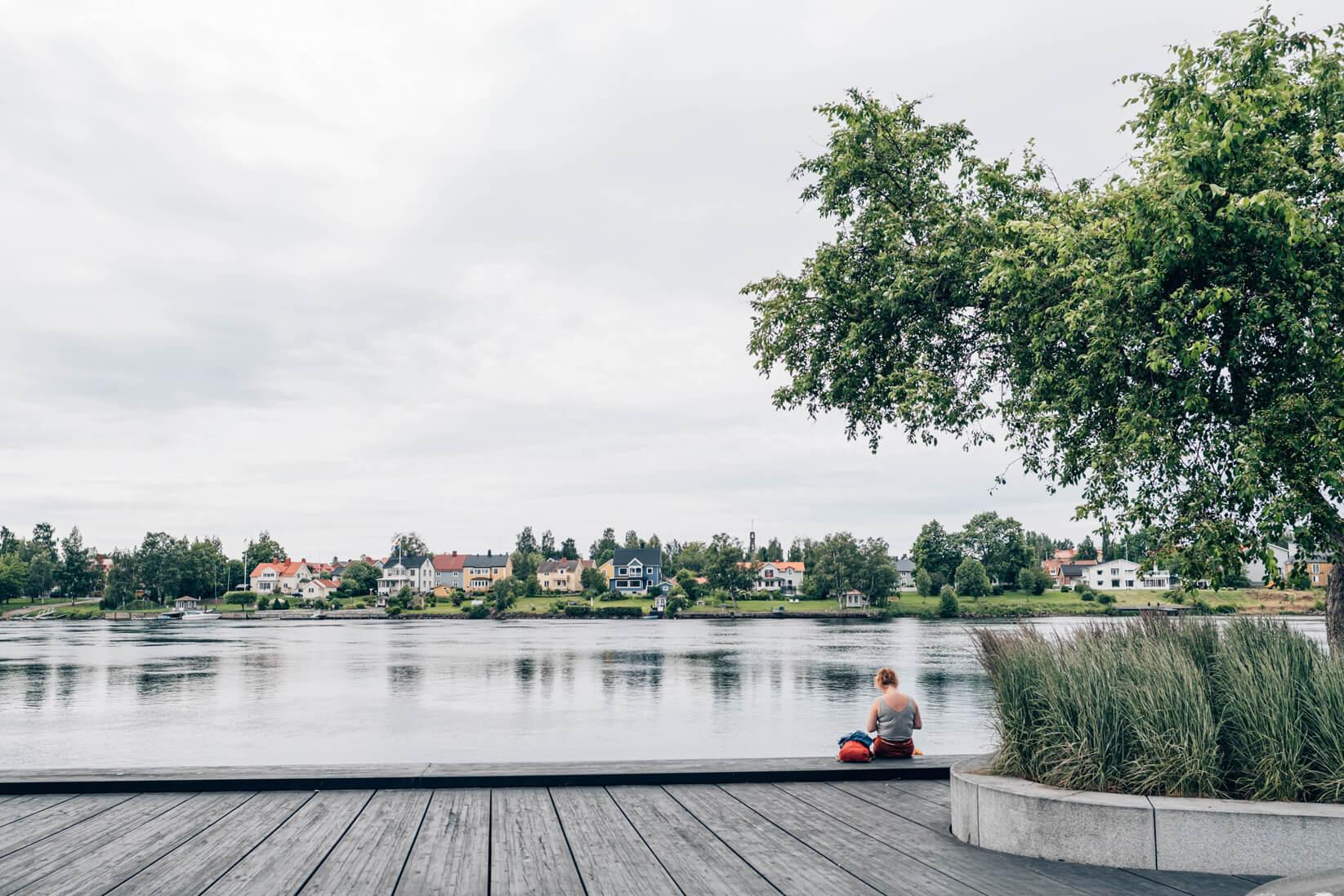 Der Fluss Umeälv in der nordschwedischen Stadt Umeå